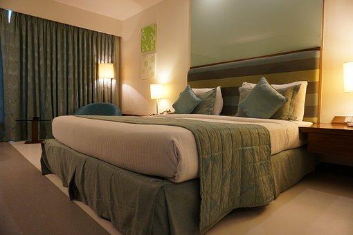 Hotel, Room, Curtain, Green, Furniture