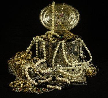 Treasure, Jewels, Pearls, Gold, Silver