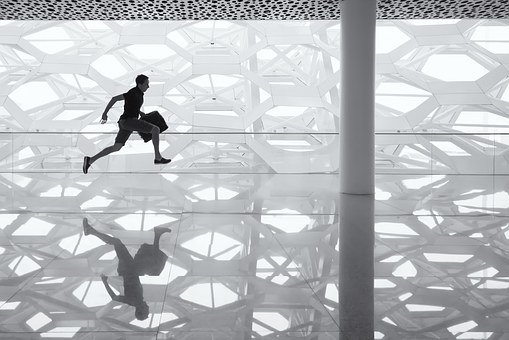 Running Man, Glass Floor, Reflection