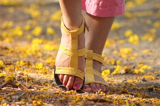 Feet, Lady, Walking, Sandles, Female