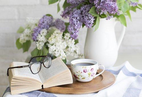Coffee, Book, Flowers, Setting, Romantic