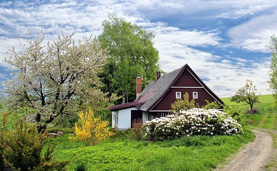 Cottage, Trees, Path, Trail, House, Home