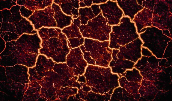 Lava, Cracked, Background, Fire, Volcano