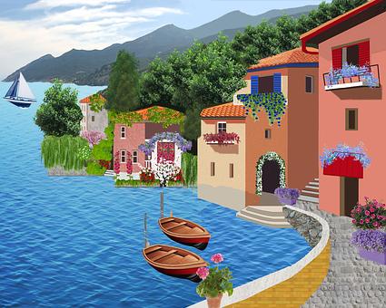 Village, Houses, Housing, Lake, Trees